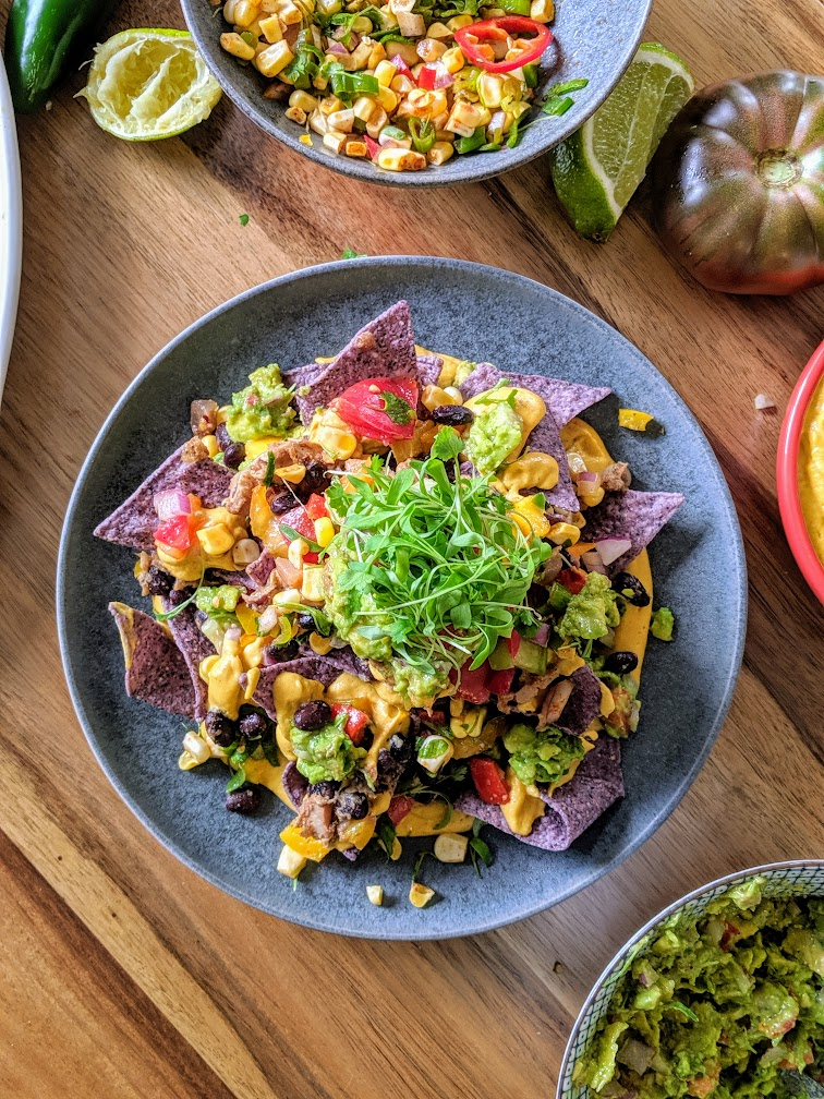vegan loaded nachos with butternut squash